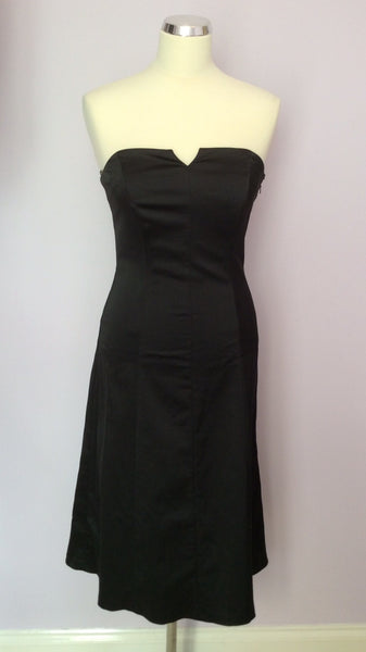 Coast Black Matt Satin Strapless Dress Size 10 - Whispers Dress Agency - Womens Eveningwear - 1