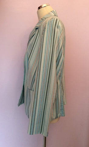 BASLER LIGHT AQUA BLUE,WHITE & DARK BLUE STRIPE COTTON JACKET SIZE 18 - Whispers Dress Agency - Womens Coats & Jackets - 2
