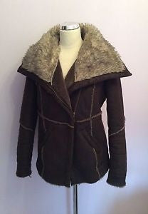 John Rocha Dark Brown Faux Leather Zip Up Flying Jacket Size 12 - Whispers Dress Agency - Womens Coats & Jackets - 1
