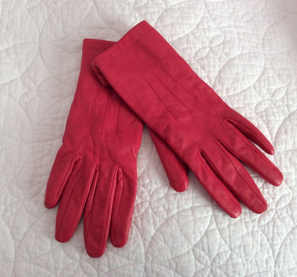 Marks & Spencer Candy Hot Pink Leather Gloves Size M - Whispers Dress Agency - Sold