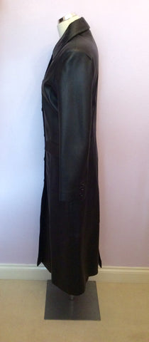 BRAND NEW BENNYS SHOP BLACK SOFT LEATHER LONG COAT SIZE S - Whispers Dress Agency - Womens Coats & Jackets - 3