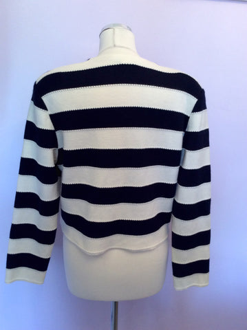 Vintage Rodier Navy Blue & Ivory Stripe Wool Blend Cardigan/Jacket Size 12 - Whispers Dress Agency - Womens Vintage - 2