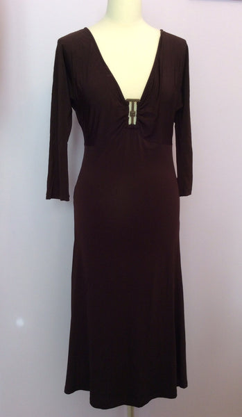 Just Cavalli Brown V Neck Buckle Trim Stretch Dress Size 46 UK 16 - Whispers Dress Agency - Womens Dresses - 1