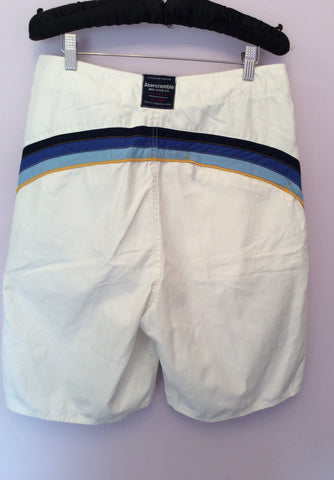 "Abercrombie & Fitch White Stripe Trim Swim Shorts Size 30"" - Whispers Dress Agency - Mens Swim & Beachwear - 2"