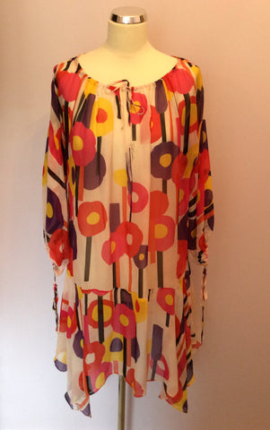 JUST CAVALLI PRINTED SHEER SILK KAFTAN/BEACH COVER UP SIZE 44 UK M/L - Whispers Dress Agency - Womens Swim & Beachwear - 1