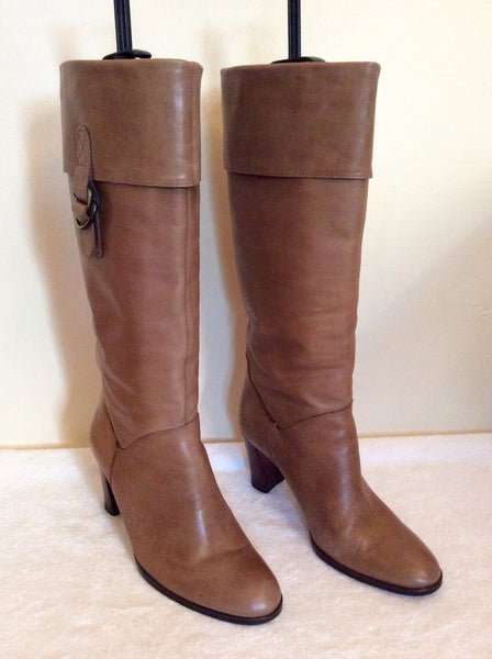 Moda In Pelle Camel Leather Knee Length Boots Size 5/38 - Whispers Dress Agency - Womens Boots - 1