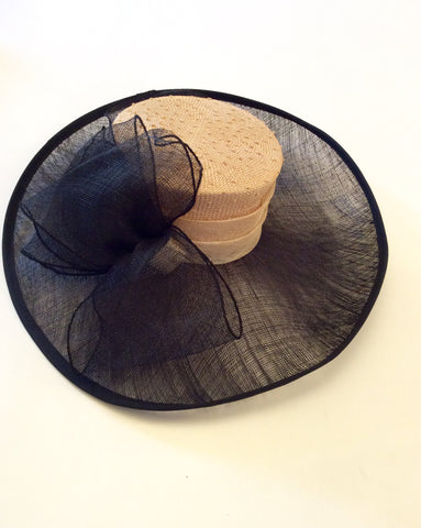 Natural Straw & Black Wide Brim Bow Trim Formal Hat - Whispers Dress Agency - Womens Formal Hats & Fascinators - 3