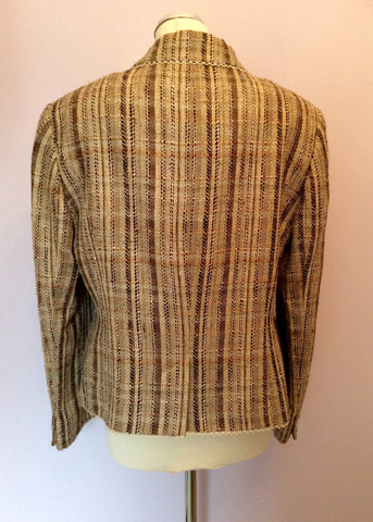 Jaeger Beige & Brown Stripe Jacket Size 18 - Whispers Dress Agency - Womens Coats & Jackets - 3
