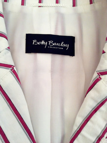 Betty Barclay White, Pink & Grey Striped Jacket Size 16 - Whispers Dress Agency - Womens Coats & Jackets - 5