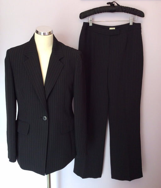 VIYELLA BLACK PINSTRIPE JACKET & 2 PAIRS OF TROUSER SUIT SIZE 10/12/14 - Whispers Dress Agency - Womens Suits & Tailoring - 1