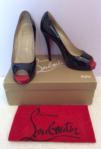 Christian Louboutin Black Patent Leather Peeptoe Heels Size 6/39 - Whispers Dress Agency - Sold - 1