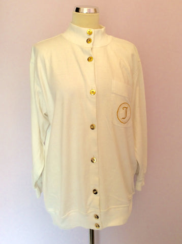 Vintage Jaeger White & Gold Button Up Top Size M - Whispers Dress Agency - Womens Vintage - 1