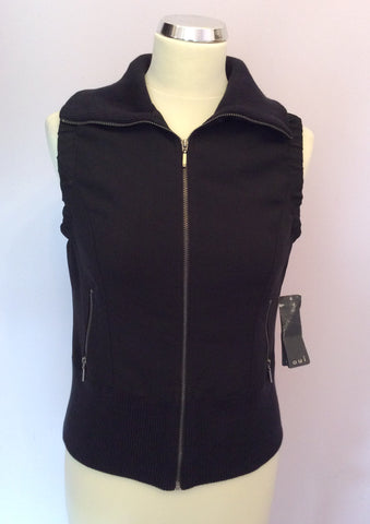 Brand New With Tags Oui Black Zip Up Gillet Size 12 - Whispers Dress Agency - Womens Gilets & Body Warmers - 1