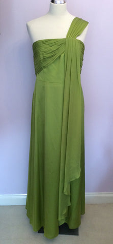 BRAND NEW MONSOON LIME GREEN SILK MAXI DRESS SIZE 18 - Whispers Dress Agency - Womens Dresses - 1
