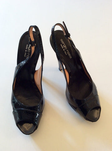 SERGIO ROSSI BLACK PATENT LEATHER PEEPTOE SLINGBACK HEELS SIZE 5/38 - Whispers Dress Agency - Womens Heels - 3