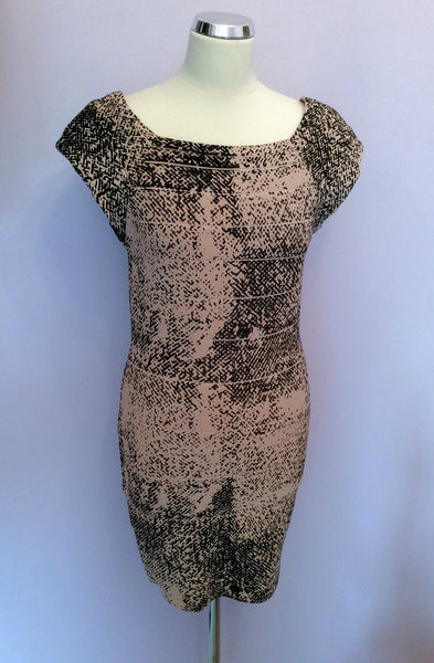 Whistles Nude & Black Print Stretch Bodycon Dress Size 12 - Whispers Dress Agency - Sold - 1