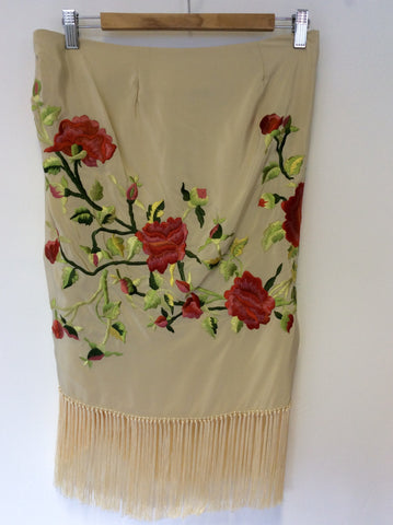 BRAND NEW POLO RALPH LAUREN CREAM SILK EMBROIDERED WRAP AROUND FRINGED SKIRT SIZE 8 UK 12 - Whispers Dress Agency - Sold - 2