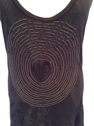 Elvis Jesus Black & Charcoal Print Beaded Racer Back Size 3 UK 12/14 - Whispers Dress Agency - Womens T-Shirts & Vests - 2