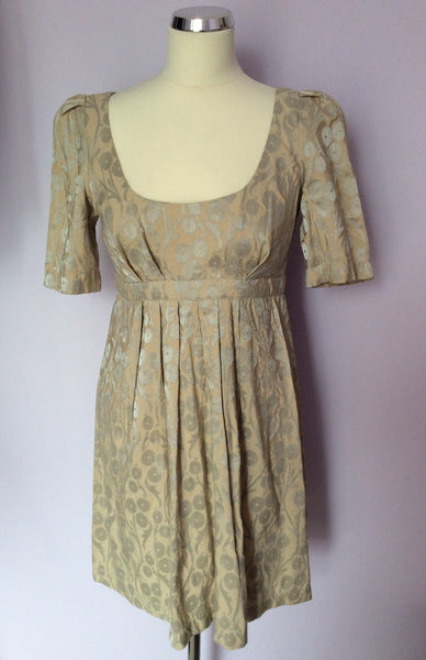 French Connection Beige & Silver Print Dress Size 10 - Whispers Dress Agency - Womens Dresses - 1