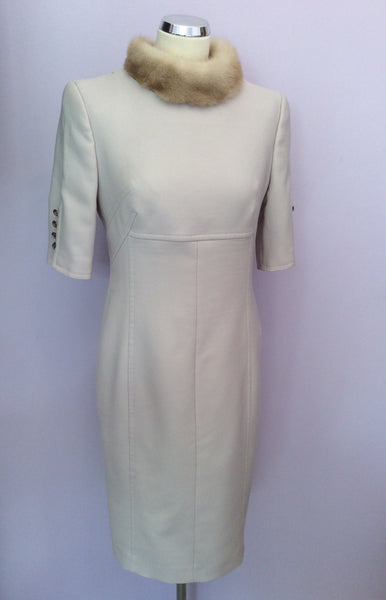 Escada Beige Wool Pencil Dress With Mink Fur Collar Size 38, UK 10 - Whispers Dress Agency - Sold - 1