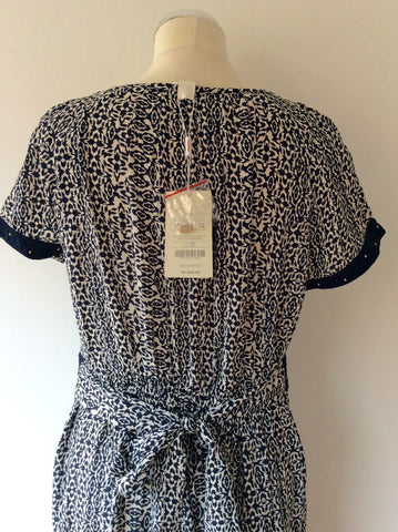 BRAND NEW MONSOON NAVY PRINT DRESS SIZE 16