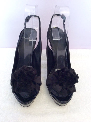 Carvela Black Satin Corsage Peeptoe Slingback Heels Size 5/38 - Whispers Dress Agency - Womens Heels - 3