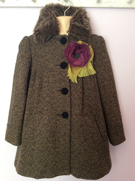 Monsoon Brown Weave Detachable Faux Fur Collar Wool Blend Coat Age 8-10 Years - Whispers Dress Agency - Sold - 1