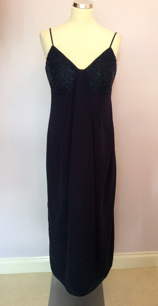 After Six By Roland Joyce Dark Blue Beaded Evening Dress Size 14 - Whispers Dress Agency - Womens Dresses - 1