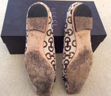 Gucci Cream & Brown Horse Bit Print Canvas Flats Size 4.5/37.5 - Whispers Dress Agency - Sold - 5
