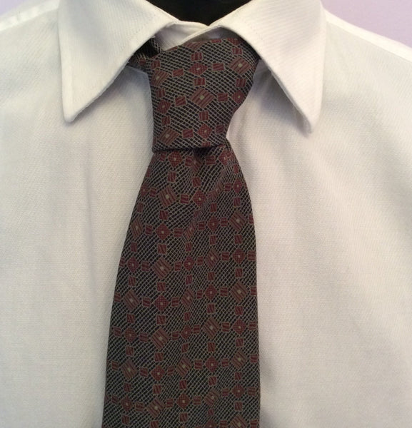 Giorgio Armani Dark Grey & Burgundy Print Silk Tie - Whispers Dress Agency - Sold - 1