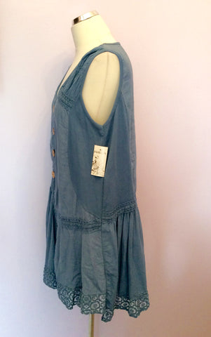 BRAND NEW MADE IN ITALY BLUE LINEN TUNIC TOP SIZE XL - Whispers Dress Agency - Womens Tops - 2