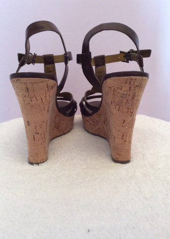 Guess Dark Brown Leather Wedge Heel Sandals Size 6/39 - Whispers Dress Agency - Womens Sandals - 4