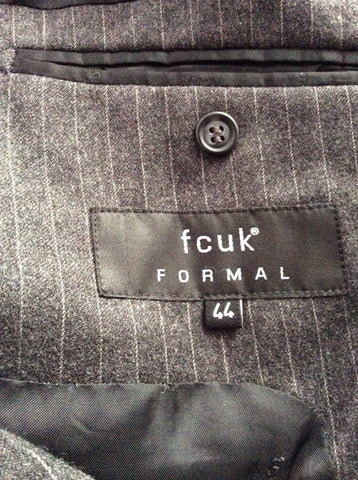 Smart FCUK Formal Grey Pinstripe 100% Wool Suit Size 44R/38W - Whispers Dress Agency - Mens Suits & Tailoring - 6