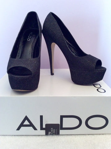 Aldo Vannice Black Sparkle Peeptoe Platform Sole Heels Size 5/38 - Whispers Dress Agency - Womens Heels - 1