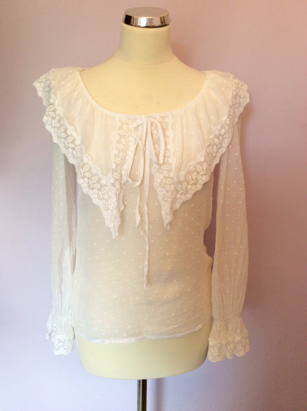 Vintage Laura Ashley White Lace Trim Collar Blouse Size 10 - Whispers Dress Agency - Sold - 1
