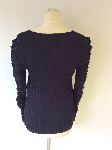 BETTY BARCLAY COLLECTION BLACK RIBBED RUCHED LONG SLEEVE JUMPER SIZE 8 - Whispers Dress Agency - Womens Knitwear - 3