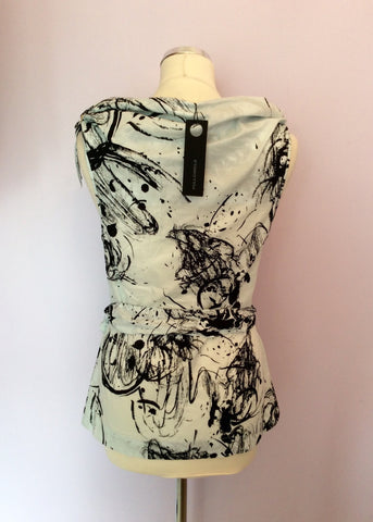BRAND NEW FULL CIRCLE ICE CREAM & BLACK PRINT BELTED TOP SIZE 8/XS - Whispers Dress Agency - Womens Tops - 3