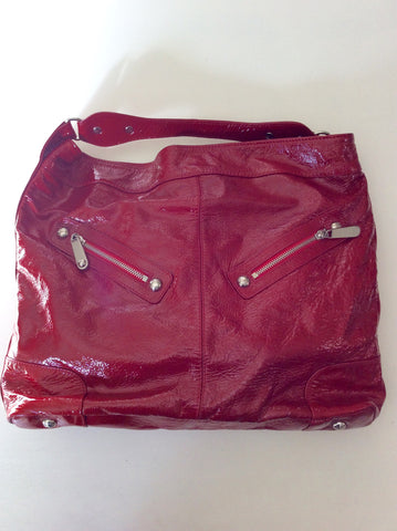 Brand New Jaeger Red Patent Leather Large Shoulder Bag - Whispers Dress Agency - Sold - 1