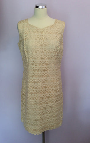 Vintage Dortona Cream Lace Pencil Dress Size Approx 14 - Whispers Dress Agency - Womens Vintage - 1