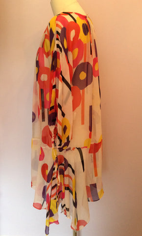 JUST CAVALLI PRINTED SHEER SILK KAFTAN/BEACH COVER UP SIZE 44 UK M/L - Whispers Dress Agency - Womens Swim & Beachwear - 3