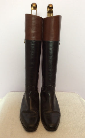 Bally Black & Brown All Leather Knee High Boots Size 3.5/36 - Whispers Dress Agency - Womens Boots - 4