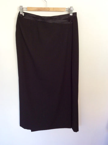 BARCLAY BLACK WRAP AROUND CALF LENGTH SKIRT SIZE 12 - Whispers Dress Agency - Womens Skirts - 2