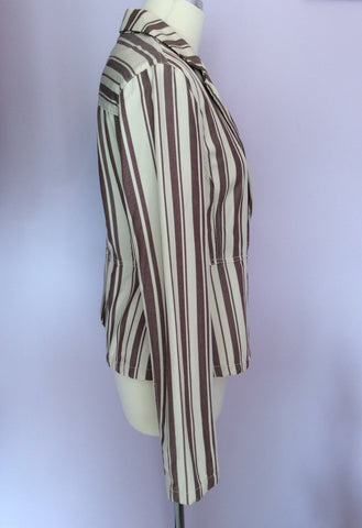 Armani Jeans Cream & Brown Stripe Jacket Size 14 - Whispers Dress Agency - Womens Coats & Jackets - 2