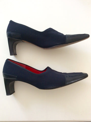 K+S Dark Blue Leather & Textile Court Shoes Size 7/40 - Whispers Dress Agency - Womens Heels - 2