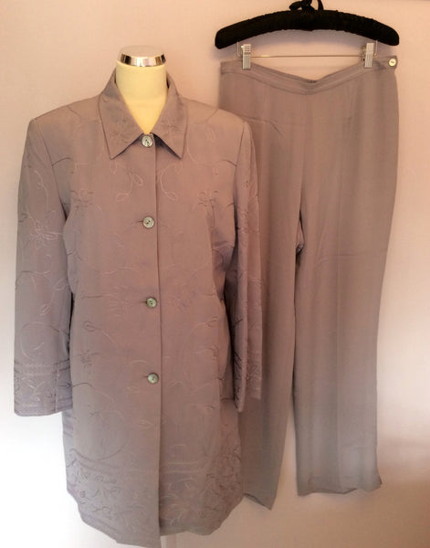Viyella Lilac Silk Long Embroidered Jacket, Top & Trousers Suit Size 14/16 - Whispers Dress Agency - Sold - 1