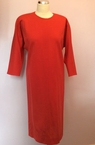 Vintage Jaeger Coral Red Wool Dress Size 10 - Whispers Dress Agency - Womens Vintage - 1