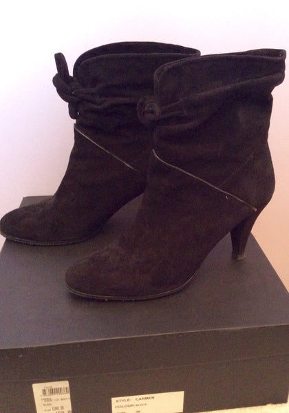 Reiss Carmen Black Suede Ankle Boots Size 5/38 - Whispers Dress Agency - Womens Boots - 1
