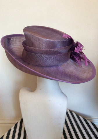 Snoxell Gwyther Dark Lilac / Mauve Wide Brim Flower Trim Formal Hat - Whispers Dress Agency - Womens Formal Hats & Fascinators - 3