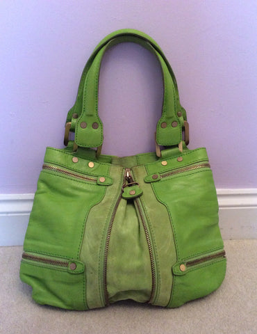 Jimmy Choo Neon Green Leather / Suede Mona Bag - Whispers Dress Agency - Sold - 2