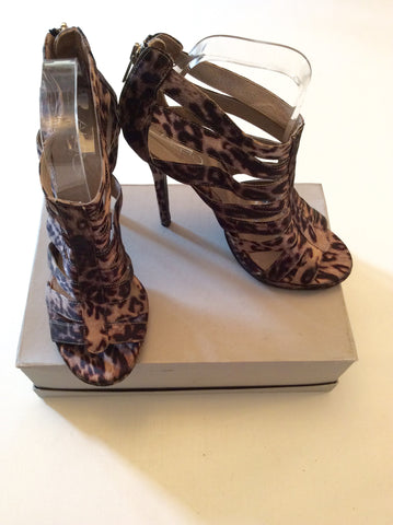 ALDO BROWN LEOPARD PRINT STRAPPY HIGH HEEL SANDALS SIZE 6 - Whispers Dress Agency - Womens Sandals - 2